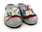 HAFLINGER® Cute Owl Slippers | Flair Olivia, stone-gray