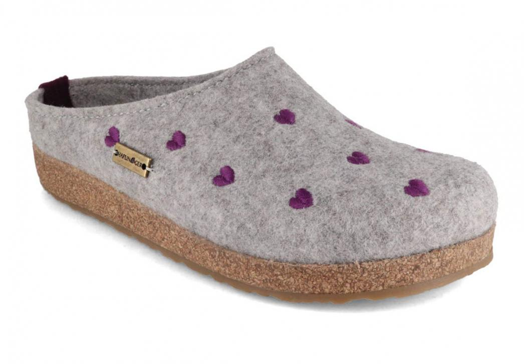 HAFLINGER Clog   Grizzly Cuoricino, Stone Gray